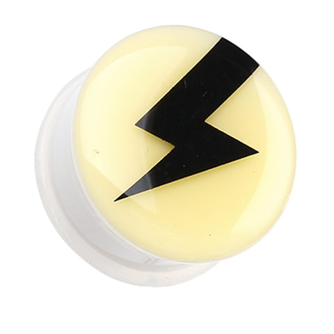 "Glow in the Dark Lightning Thunder Single Flared Ear Gauge Plug - 7/16"" (11mm)  - Sold as a Pair"