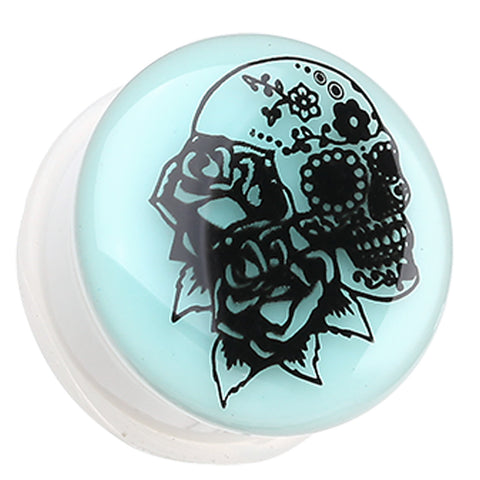 "Glow in the Dark Rose Sugar Skull Single Flared Ear Gauge Plug - 7/16"" (11mm)  - Sold as a Pair"