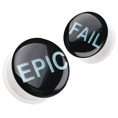 "Glow in the Dark Epic Fail Single Flared Ear Gauge Plug - 1/2"" (12.5mm)  - Sold as a Pair"
