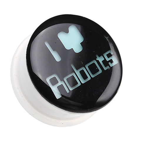 Glow in the Dark I Heart Robots Single Flared Ear Gauge Plug - 0 GA (8mm)  - Sold as a Pair