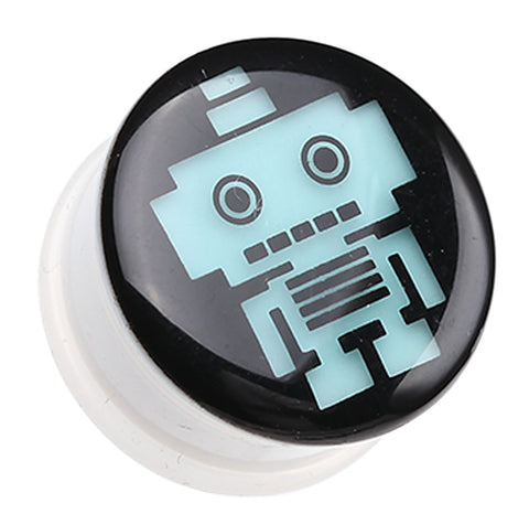 "Glow in the Dark Robot Single Flared Ear Gauge Plug - 7/16"" (11mm)  - Sold as a Pair"