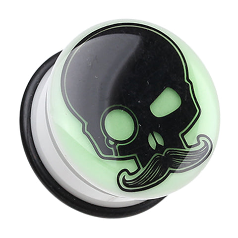 "Glow in the Dark Skull Mustache Single Flared Ear Gauge Plug - 3/4"" (19mm)  - Sold as a Pair"