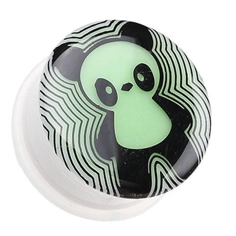 "Glow in the Dark Panda Single Flared Ear Gauge Plug - 3/4"" (19mm)  - Sold as a Pair"