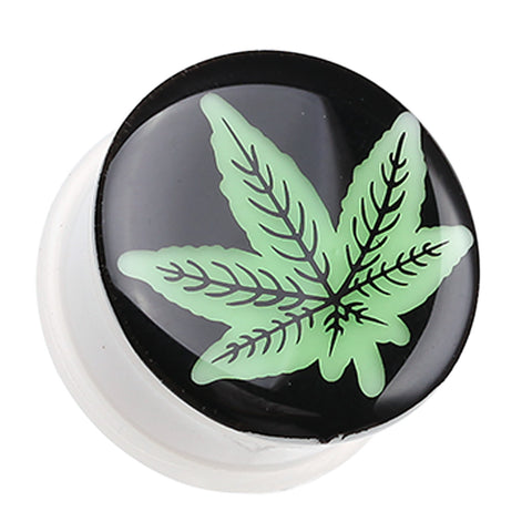 "Glow in the Dark Cannabis Leaf Single Flared Ear Gauge Plug - 7/8"" (22mm)  - Sold as a Pair"