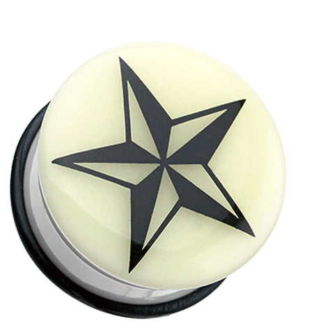 Glow in the Dark Nautical Star Single Flared Ear Gauge Plug - 00 GA (10mm)  - Sold as a Pair