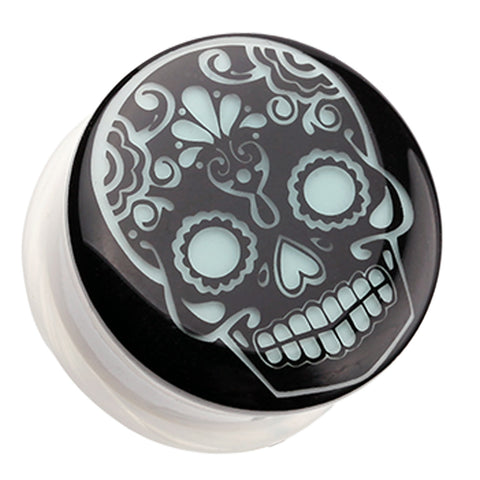 "Glow in the Dark Sugar Skull Single Flared Ear Gauge Plug - 3/4"" (19mm)  - Sold as a Pair"