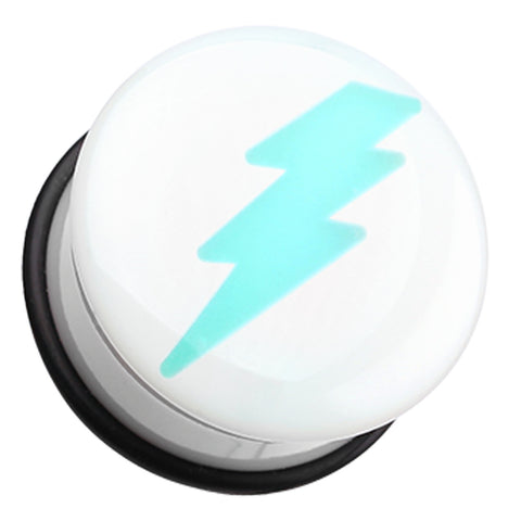 "Glow in the Dark Lightning Bolt Single Flared Ear Gauge Plug - 7/16"" (11mm)  - Sold as a Pair"