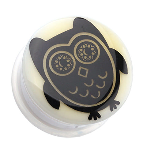 Glow in the Dark Baby Owl Single Flared Ear Gauge Plug - 2 GA (6.5mm)  - Sold as a Pair