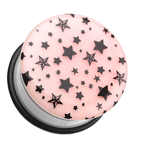 "Glow in the Dark Multi Star Single Flared Ear Gauge Plug - 3/4"" (19mm)  - Sold as a Pair"