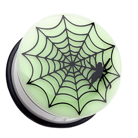 Glow in the Dark Spider Web Single Flared Ear Gauge Plug - 00 GA (10mm)  - Sold as a Pair
