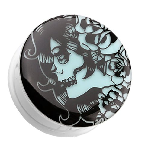 "Glow in the Dark Day of the Dead Lady Single Flared Ear Gauge Plug - 3/4"" (19mm)  - Sold as a Pair"