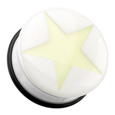 "Glow in the Dark Solo Star Single Flared Ear Gauge Plug - 3/4"" (19mm)  - Sold as a Pair"