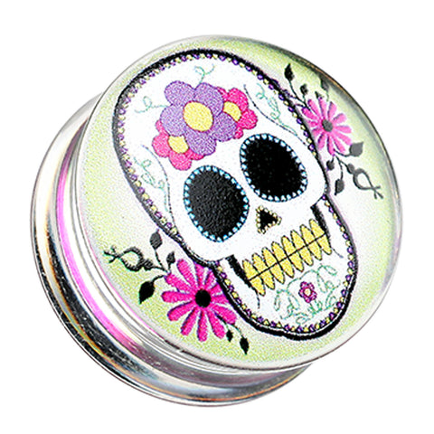 "Sugar Skull Clear UV Double Flared Ear Gauge Plug - 7/8"" (22mm)  - Sold as a Pair"