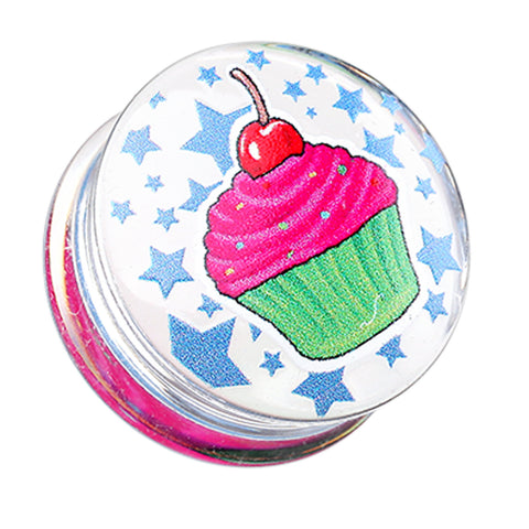 "Cupcake Star Clear UV Double Flared Ear Gauge Plug - 1"" (25mm)  - Sold as a Pair"