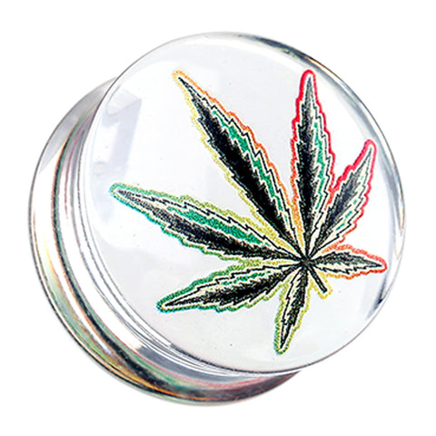 "Cannabis Leaf Clear UV Double Flared Ear Gauge Plug - 3/4"" (19mm)  - Sold as a Pair"
