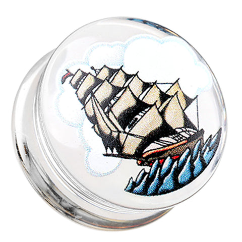 "Sailing Ship Clear UV Double Flared Ear Gauge Plug - 3/4"" (19mm)  - Sold as a Pair"