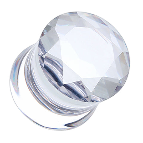 "Faceted Crystalline Glass-Gem Double Flared Ear Gauge Plug - 1/2"" (12.5mm) - Clear - Sold as a Pair"