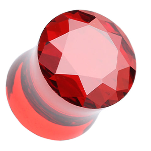 Faceted Crystalline Glass-Gem Double Flared Ear Gauge Plug - 2 GA (6.5mm) - Red - Sold as a Pair