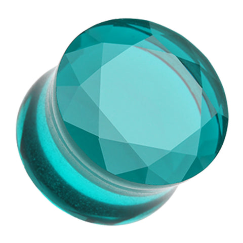 Faceted Pyrex Glass Double Flared Ear Gauge Plug - 2 GA (6.5mm) - Teal - Sold as a Pair