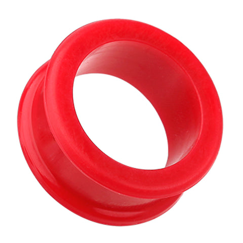Flexible Silicone Double Flared Ear Gauge Tunnel Plug - 2 GA (6.5mm) - Red - Sold as a Pair