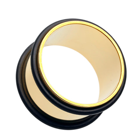 "Gold Plated No Flare Ear Gauge Tunnel Plug - 7/8"" (22mm)  - Sold as a Pair"