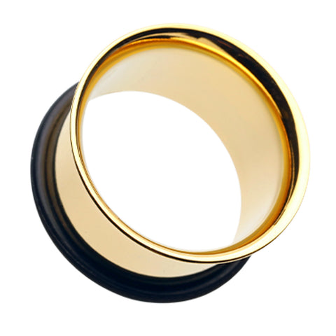 Gold Plated Single Flared Ear Gauge Tunnel Plug - 6 GA (4mm)  - Sold as a Pair