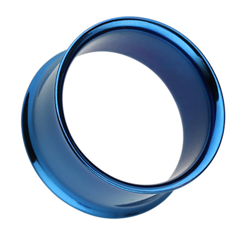 "Colorline 316L Surgical Steel Double Flared Ear Gauge Tunnel Plug - 3/4"" (19mm) - Blue - Sold as a Pair"