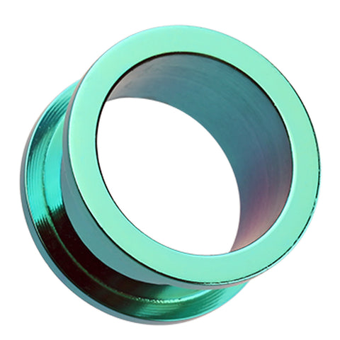 "Colorline 316L Surgical Steel Screw-Fit Ear Gauge Tunnel Plug - 7/8"" (22mm) - Green - Sold as a Pair"