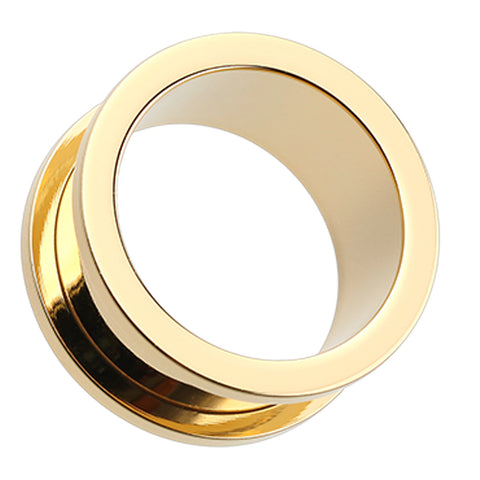 Gold Plated Screw-Fit Ear Gauge Tunnel Plug - 6 GA (4mm)  - Sold as a Pair