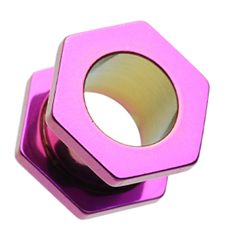 Colorline Hexa Bolt Screw-Fit Ear Gauge Tunnel Plug - 0 GA (8mm) - Purple - Sold as a Pair