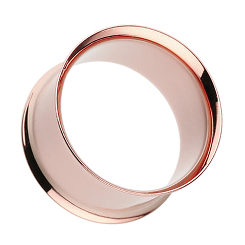 Real Rose Gold Plated Ear Gauge Tunnel Plug - 6 GA (4mm)  - Sold as a Pair