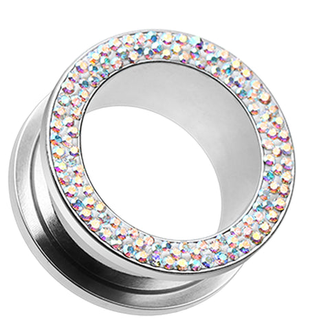 "Sparkling Multi Glass-Gem Screw-Fit Ear Gauge Tunnel Plug - 9/16"" (14mm) - Aurora Borealis - Sold as a Pair"