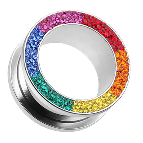 Sparkling Rainbow Multi Glass-Gem Screw-Fit Ear Gauge Tunnel Plug - 0 GA (8mm) - Rainbow - Sold as a Pair