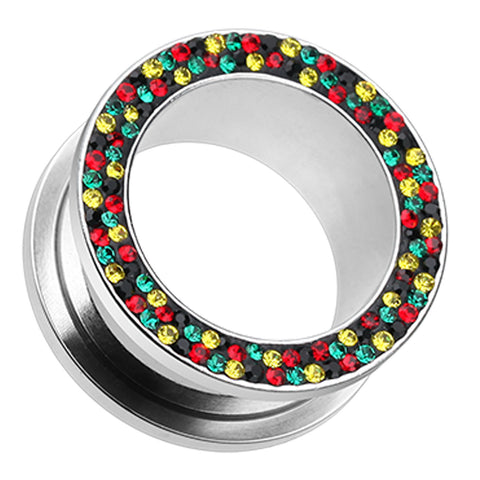 "Sparkling Rasta Multi Glass-Gem Screw-Fit Ear Gauge Tunnel Plug - 1"" (25mm) - Rasta - Sold as a Pair"