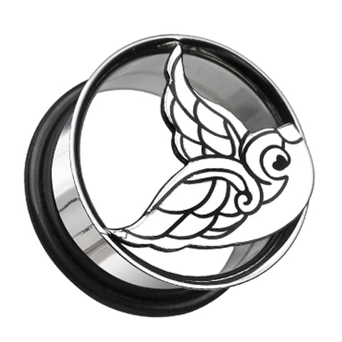 "Flying Swallow Hollow 316L Surgical Steel Single Flared Ear Gauge Plug - 3/4"" (19mm)  - Sold as a Pair"