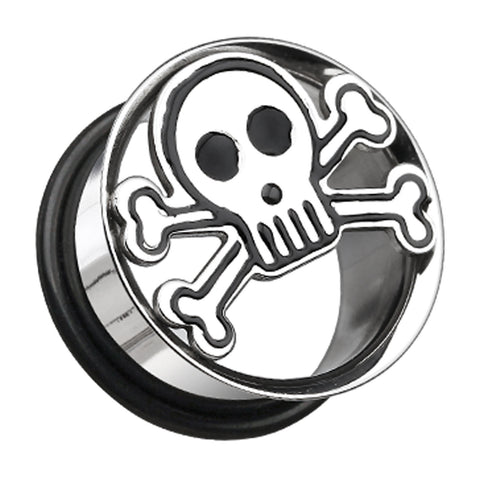 "Skull & Crossbones Hollow 316L Surgical Steel Single Flared Ear Gauge Plug - 5/8"" (16mm)  - Sold as a Pair"