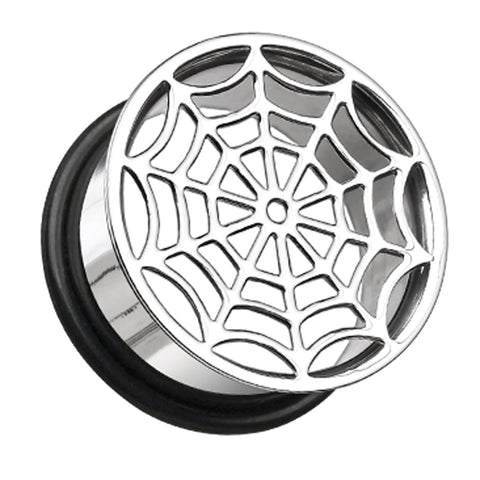"Spider Web Hollow 316L Surgical Steel Single Flared Ear Gauge Plug - 1/2"" (12.5mm)  - Sold as a Pair"