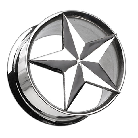 "Nautical Star Hollow 316L Surgical Steel Double Flared Ear Gauge Plug - 1/2"" (12.5mm)  - Sold as a Pair"