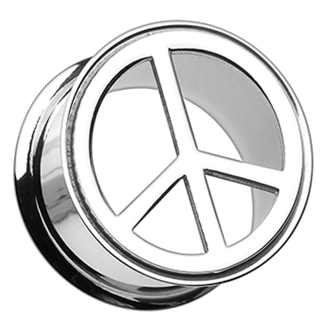 "Peace Top Hollow 316L Surgical Steel Double Flared Ear Gauge Plug - 1"" (25mm)  - Sold as a Pair"