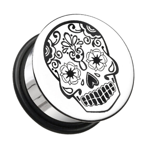 "Day of the Dead Sugar Skul Hollow Back Single Flared Ear Gauge Plug - 3/4"" (19mm)  - Sold as a Pair"