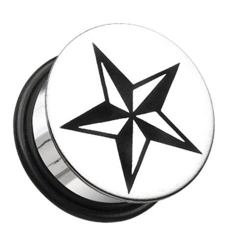 "Nautical Star Hollow Back Single Flared Ear Gauge Plug - 5/8"" (16mm)  - Sold as a Pair"