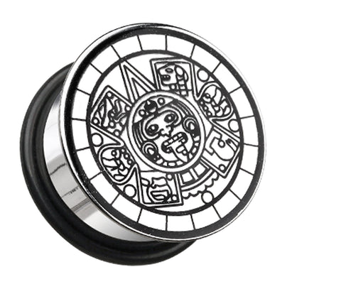 "Mayan Calendar Plate Hollow Back Single Flared Ear Gauge Plug - 5/8"" (16mm)  - Sold as a Pair"