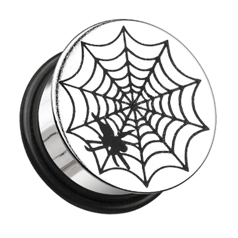 "Spider Plate Hollow Back Single Flared Ear Gauge Plug - 1"" (25mm)  - Sold as a Pair"