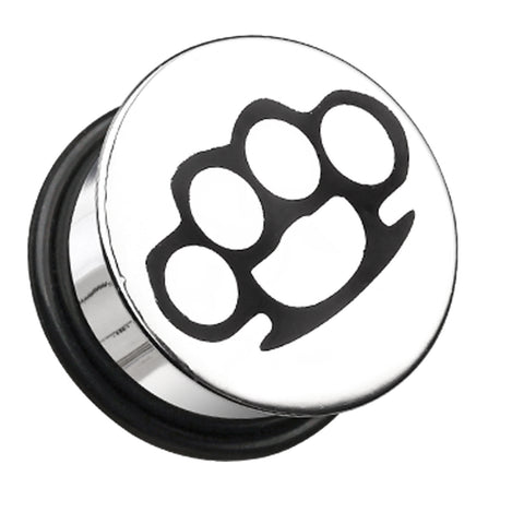 Brassknuckle Plate Hollow Back Single Flared Ear Gauge Plug - 2 GA (6.5mm)  - Sold as a Pair