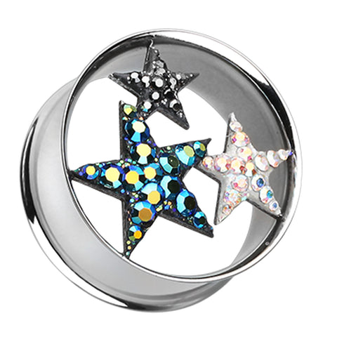 Triple Star Sparkling Tunnel Ear Gauge Plug - 00 GA (10mm)  - Sold as a Pair