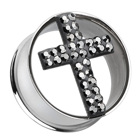 "Glistening Cross Sparkling Tunnel Ear Gauge Plug - 5/8"" (16mm) - Black - Sold as a Pair"