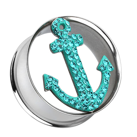 "Anchor Dock Sparkling Tunnel Ear Gauge Plug - 5/8"" (16mm) - Teal - Sold as a Pair"