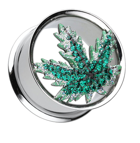 "Pot Leaf Sparkling Ear Gauge Tunnel Plug - 7/8"" (22mm) - Green - Sold as a Pair"