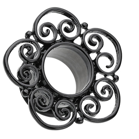 Blackline Floral Filigree Single Flared Tunnel Plug - 2 GA (6.5mm) - Black - Sold as a Pair