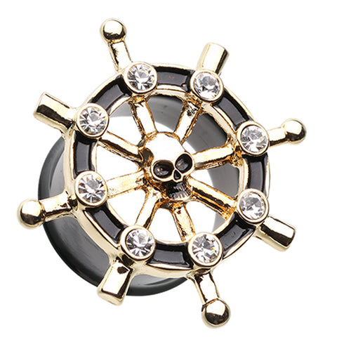 "Golden Colored Pirate Ship Anchor Wheel Ear Gauge Plug - 5/8"" (16mm) - Black/Clear - Sold as a Pair"